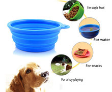 Wholesale Silicone Pet Bowl Portable Travel Dog and Cat Food and Water Bowl Free Carry Hanging Hook