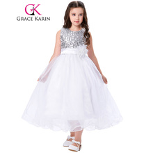 Grace Karin Flower Girl Dress Blue White Red First Communion Gowns With Floral O Neck Sequined Ball Gown Pageant Dress For Girls