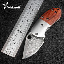 KKWOLF Damascus folding pocket knife Mini hunting knife sandalwood handle camping tactics survival knives outdoor EDC tool gift