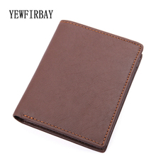YEWFIRBAY Men Wallet genuine Leather Short Coin Purse high quality Small Vintage Wallet brand Designer seven card holders