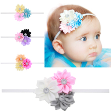 New Europe children accessories multi drill floral hair band Sunflower baby girl accessories fine elastic headbands H032(China)