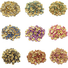 LNRRABC Hot 50 pcs/lot 8MM Fashion DIY Gold Color Wheel Charm Loose Spacer Matal Beads for Jewelry Making Wholesale