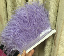 10yards/lots  light purple  Ostrich Feather Plumes Fringe trim 10-15cm Feather Boa Stripe for Party Clothing Accessories Craft
