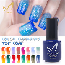MONASI New Product Soak Off Temperature Color Changing Top Coat Different Base Color Different Effect Nail Gel Polish