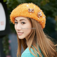 2017 Women autumn winter pink acrylic beret painter dome small flower orange caps bow pearl casual brown shopping hats