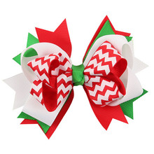 1pc Girl Christmas Ornaments Bowknot Cloth Hairpin Headdress About11.5cm Wholesale Christmas Ornaments Decoracion De Navidad@T30(China)