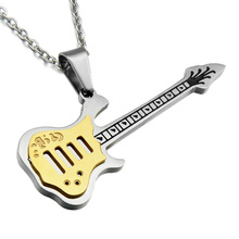 HIP Guitar Necklaces For Men Women Music Lover Gift Blue/Gold Color Stainless Steel Pendant Chain Rock Hip Hop Jewelry Kpop