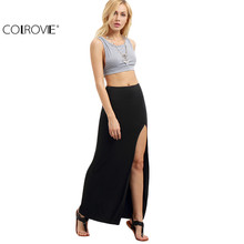 COLROVIE Women Black Split Maxi Skirts New Arrival 2017 Sexy Summer Style Womens Fitness Casual Long Skirt