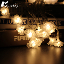 Konesky 10-LED Beads String Light Rose Flower Christmas Light Indoor Christmas Decorations for Home Window Living Room Bedroom(China)