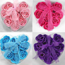 9Pcs/Box Heart-Shaped Rose Soap Flowers Romantic Wedding Birthday Party Gift Artificial Flower Decor Health Care Tool(China)