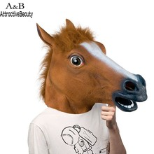 Novelty Creepy Horse Head Latex Rubber Costume Theater Prop Party Mask Offering Discounts Silicone Mask(China)