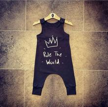 2017 Cotton Newborn Kidsd Baby Boy Girls crown Romper Black Sleeveless Jumpsuit Clothes Outfits Baby Clothing(China)