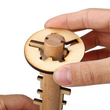 Wooden Unlock Puzzle Key Classical Wood Kong Ming Lock Education Toys Game
