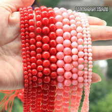 Wholesale Round Freshwater Dye Red & Pink Shell Beads For jewelry Making 4/6/8 mm DIY Bracelet Necklace Material Strand 15''