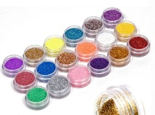 18 Colors/set Nail Art acrylic Glitter Powder Dust For UV GEL Acrylic Powder Decoration nail gel nail tools(China)