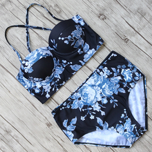 Buy High Waist Swimwuit Women Sexy Bikini Halter Bandage Swimwear Female Printed Bikini Set Floral Swimming Suit Bathing Suit XL