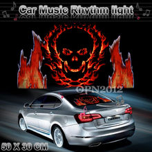 50x30cm Car Sticker Sound Music Activated EL Equalizer Glow Flash Colour Light Flashing Music Rhythm LED Flash Light Lamp 2340