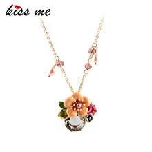 High-end Turkey Jewelry Hot Sale SUNNY BEACH Pendant Necklace Enamel Flowers Factory Wholesale(China)