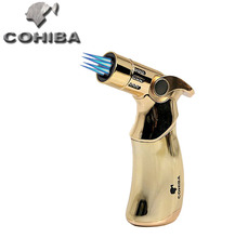 3 Color COHIBA Brand 4 Jet Gas Lighter,Gold Torch Lighter,Windproof Butane Accendini A Gas