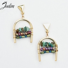 Joolim Jewelry Wholesale/ 2017 Ethnic Lightweight Mixed Color Natural Stone Pave Pierced Earring Cabochon Design Earring Fashion