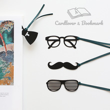 glasses bow tie moustache bookmark cute kawaii black bookmarks with ribbon for kids student school gift stationery wholesale