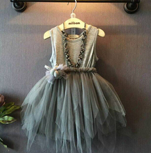 New Girls Clothes Kids Vintage Gray Sleeveless Tulle Lace Dress Kids Party Dresses