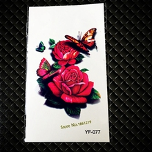 New Flash 3D Temporary Tattoo Stickers Sexy Lady Body Arm GYF-077 Red Rose Blossom Butterfly Design Waterproof Tattoos On Chest