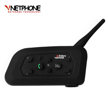 2017 V6 Bluetooth Intercom Motorcycle Helmet Accessories Speaker 1200m 6 Riders Interphone Headset Support Mp3 Music GPS(China)