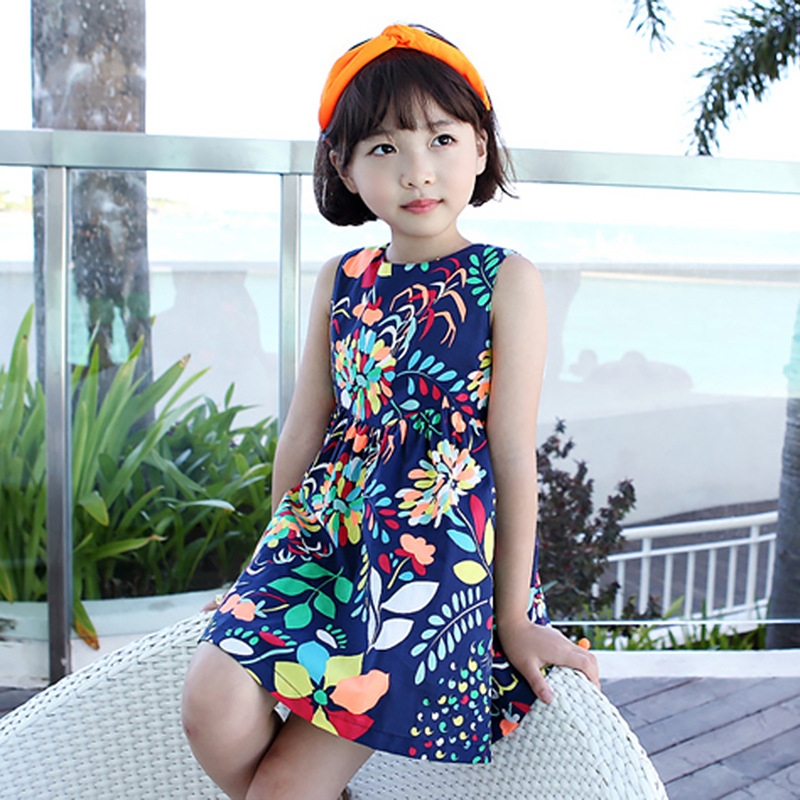 2017 summer korean style children clothing girls flowe printing sleeveless dress girl fashion one-piece kids mini sundress<br><br>Aliexpress