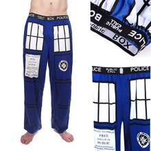Doctor Who Police Box Pajamas Pants TARDIS Royal Blue Lounge Pants Cotton Men's Straight Trousers Casual Pants(China)