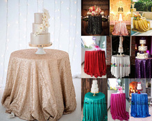 Custom made Round Sequin TableCloth Wedding Beautiful Sequin Table Cloth / Overlay /Cover any color any size