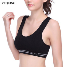 VEQKING Aborb Sweat Quick Dry Professional Yoga Sports Bra, Full Cup Padded Stretch Workout Fitness Gym Running Tops Tees