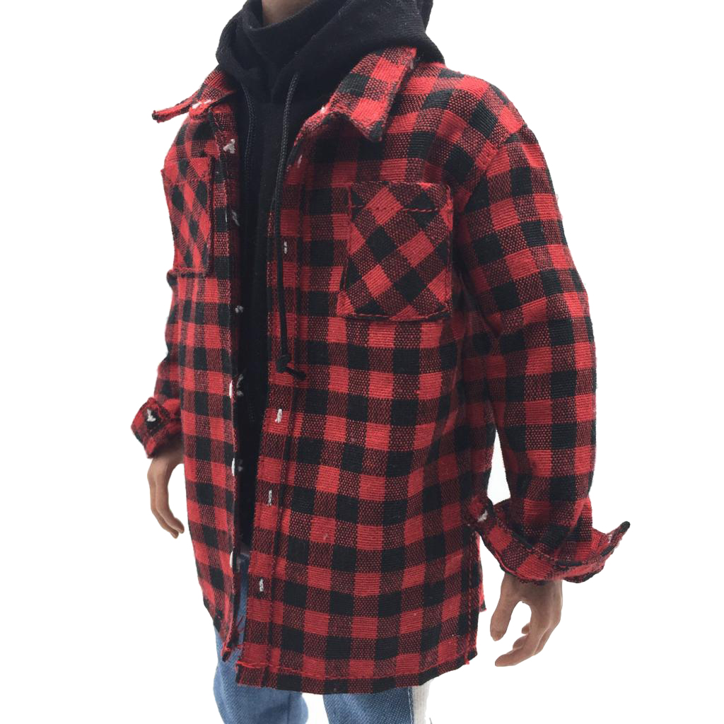 1:6 15cm Plaid Shirt Male Jacket for 12inch HT Phicen Kumik Action Figures