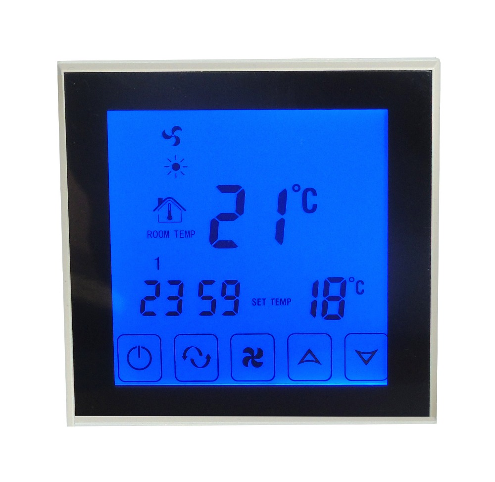 2p 4p blue backlight touch screen programmable heating cooling Thermostat with Timing program<br>