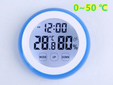 10pcs Touch Screen Electronic Digital LCD Hygrometer Thermometer Indoor Tester Backlight Time Temperature Humidity Display 40%(China)