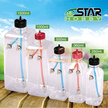 6STARHOBBY 260ml/360ml/500ml/1000ml/1500ml Transparent Fuel Tank for 26-40CC Gasoline / Nitro Airplanes