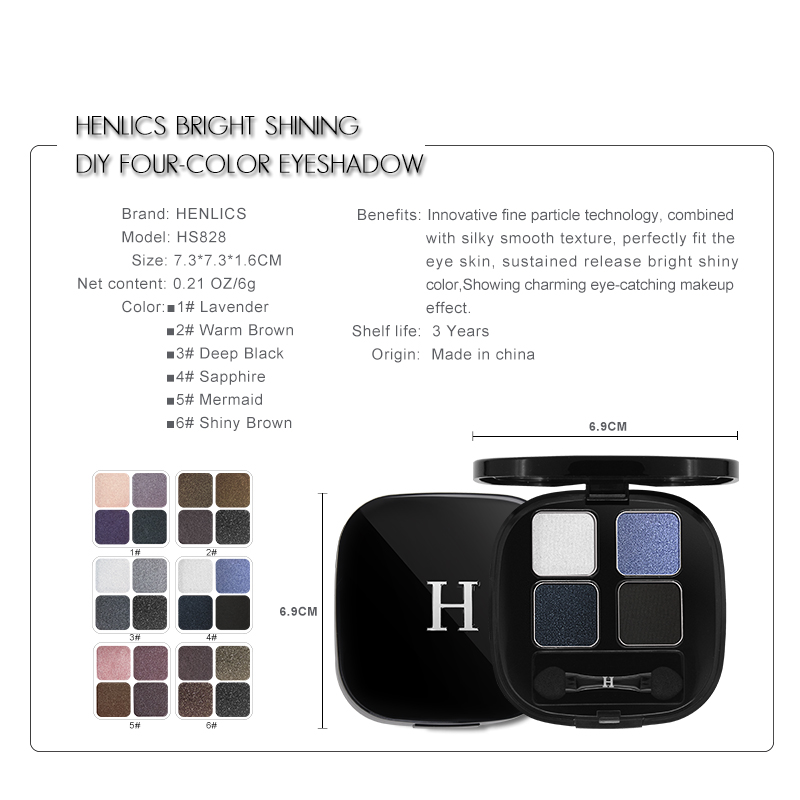 HENLICS Bright Shining Eyeshadow Palette with Eyeshadow Brush 4 Colors Per Set Glitter Eye Shadow for Eyes Makeup Cosmetics (5)
