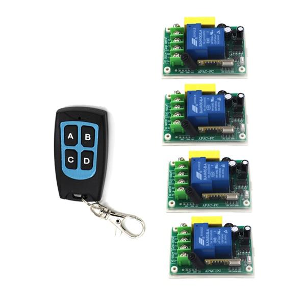 AC 220V 30A 1CH RF Wireless Remote Control Switch System,1 X Transmitter + 4X Receiver,315/433MHZ SKU: 5517<br>