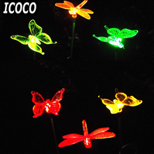 ICOCO 2 pcs/set Colorful LED Solar Powered Light Outdoor Lawn Lamps IP44 Garden Path Decorative Light Lawn Landscape Lamp Sale(China)