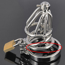 Buy 100%stainless steel chastity cage metal urethral catheter,5 size cock ring male chastity device sex toys men
