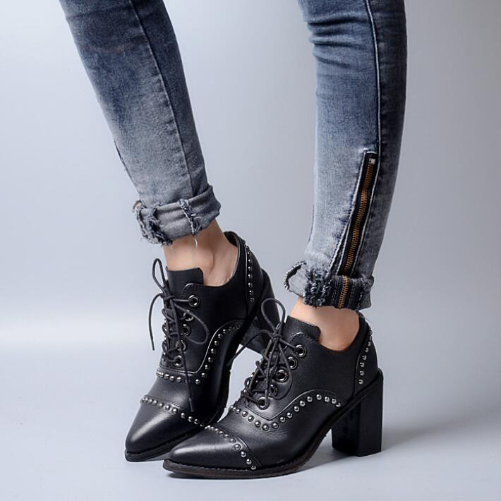 100% Real Leather Women Martin Boots Lace Up British Style Rivets High Heel Ankle Bootie Cool Style Pointed Toe Zapatos <br><br>Aliexpress