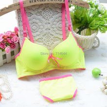 Summer neon color glossy brief bra set push up candy color thin sexy young girl underwear surface fluorescence simple 2015 new