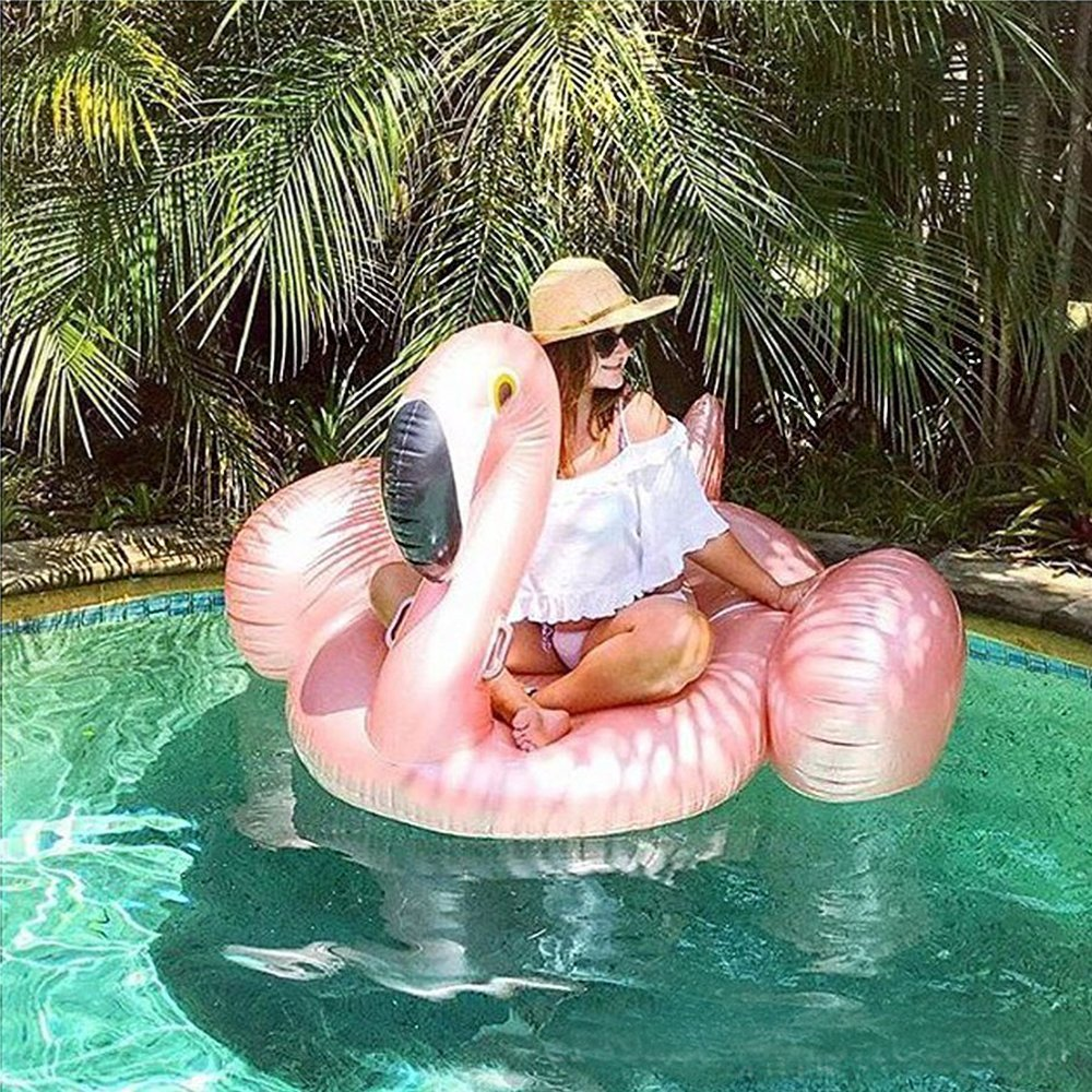 150CM 60 Inch Giant Rose Gold Pool Float Swim Ring Flamingo Pool Floats Raft For Adult Giant Pool Float Inflatable Swimtrainer (5)