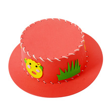 1 pcs Random Cartoon Cute EVA Sewing Hat Puzzle Toy Handmade Kids Handcraft Sun Cap DIY Hat Educational Craft Toy Kits