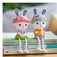 Couples hanging feet rabbit resin cartoon dolls wedding gifts crafts shelves Decoration home jewelry