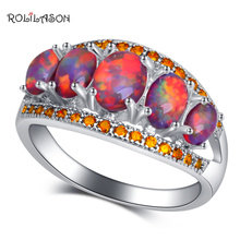 ROLILASON Birthday gift orange Fire Opal orange crystal Fashion Jewelry for Women Silver Rings USA Size #6#7#8#9#10 OR905