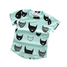 2017 Summer Kids T-shirt 100% Cotton Cat Print Short Sleeves Boys Girls Baby T-shirt