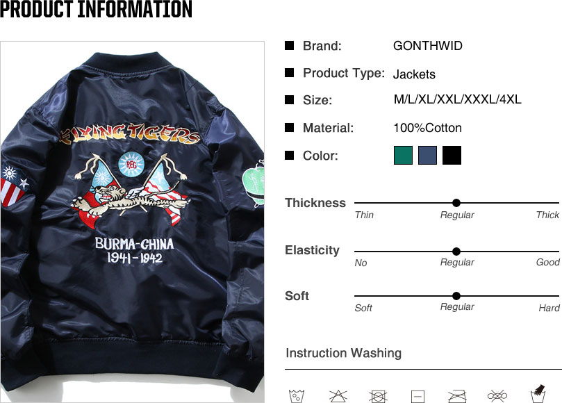 Tiger Embroidery MA1 Pilot Bomber Jackets