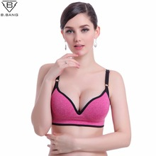 B.BANG Women Sports Deep V Bra Fitness Gym Running Push Up Bras Tops Seamless Bra with Padding Adjustable Strap(China)