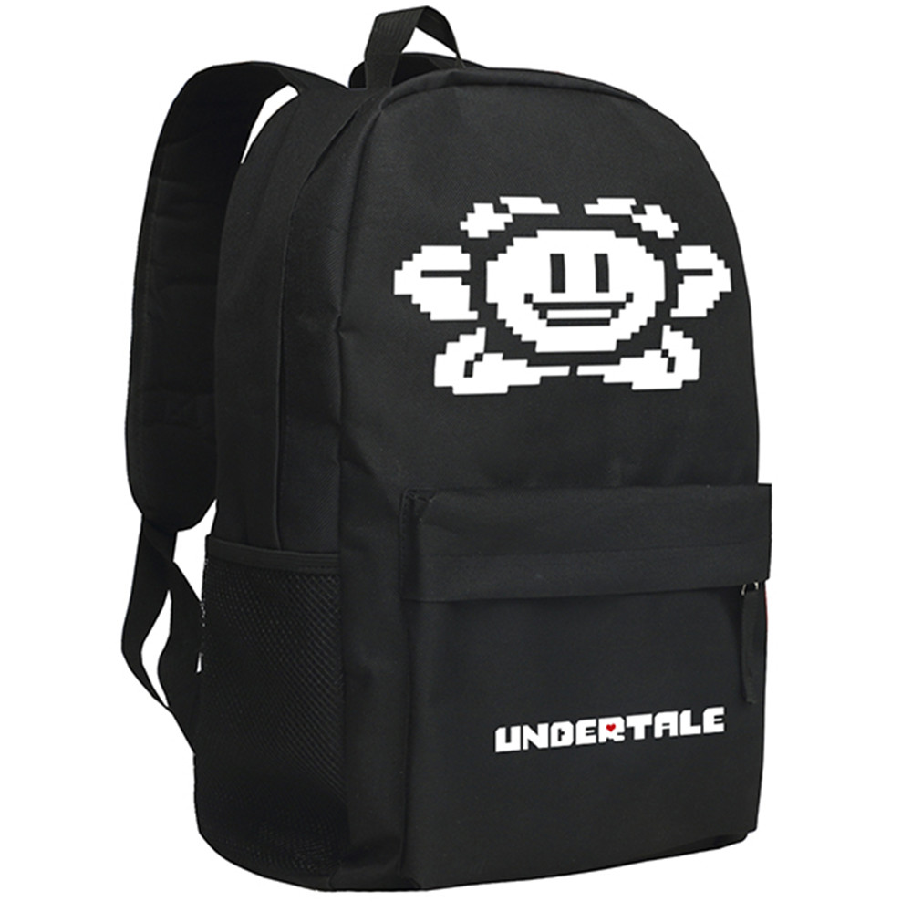Zshop Game Character Undertale Backpack Flower Pattern Sans School Bag for Boys Girls<br>